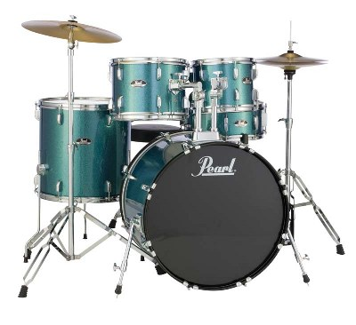 Pearl Roadshow Aqua Blue Glitter Drum Set with Hardware & Cymbals