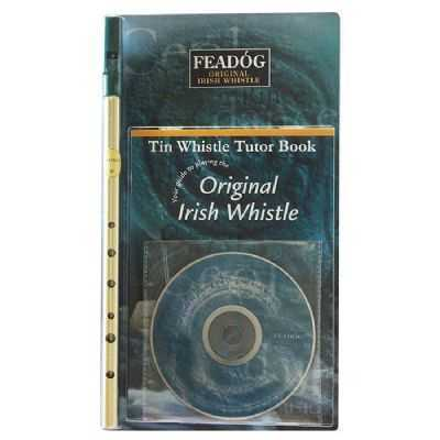Feadog Original Irish Brass Whistle in the Key of D with Book and CD