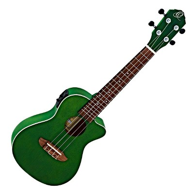 Ortega RUFORESTCE Green Concert Ukulele with Pickup and Cutaway